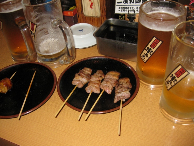 Beer and Yakitori in Koriyama