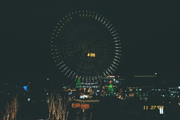 Cosmo Clock in Yokohama at night