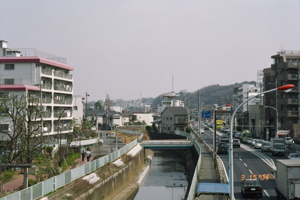 Looking south from a pedestrian bridge near Mukogaokayuen station