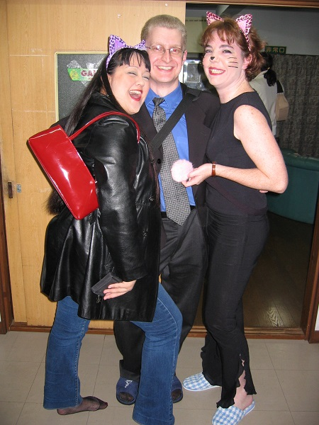 "Zoe, me, and Okonomi at Halloween. My costume was ""English teacher"""