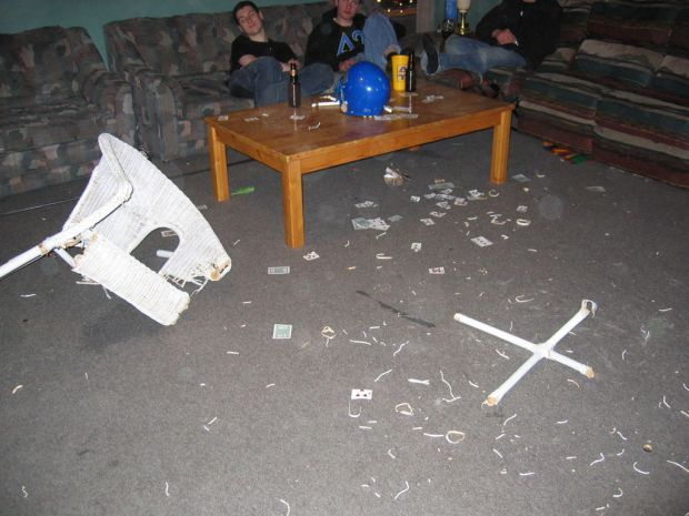 The aftermath of a man vs. chair grudge match