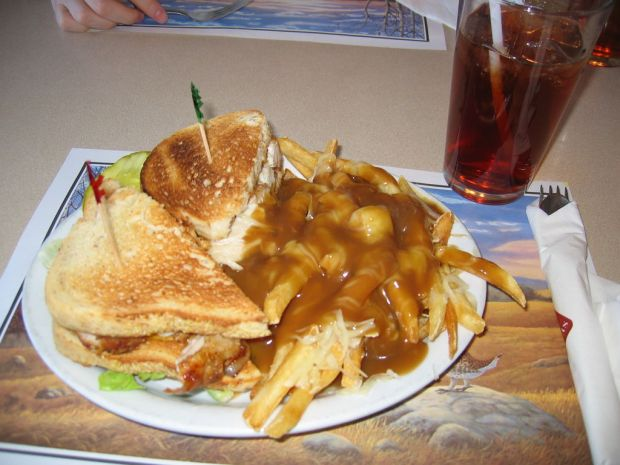 Clubhouse sandwich and poutine at Chicken Chef