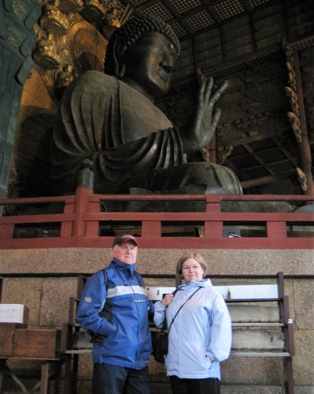 My parents next to the giant bronze Buddha