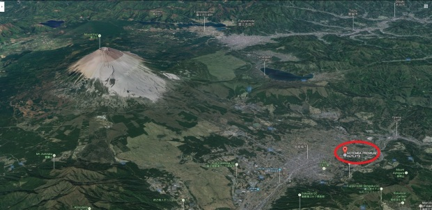 Screen capture showing Mt. Fuji and Gotenba Premium Outlet (Google Maps)